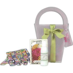 Promopeddler tote for garden contains hand lotion, flower seed packet & gardening gloves.